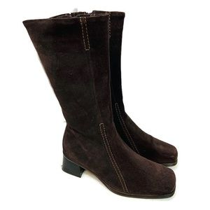 La Canadienne Brown leather suede heeled boots